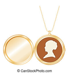 Antique Gold Locket, Vintage Cameo - Engraved gold keepsake...