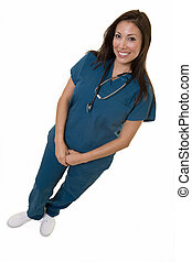 Friendly nurse - Full body of an attractive young brunette...