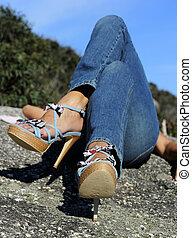 High heel legs relaxing
