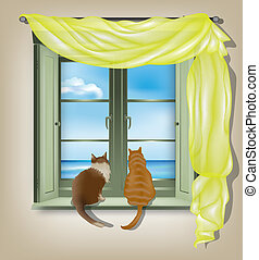 cats looking out of window - Two cats on inner window sill...