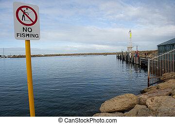 No fishing sign - Sign at marina in Perth giving no...