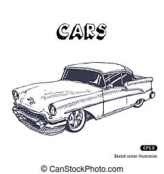 Old car. Hand drawn vector isolated on white