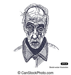 Old man Hand drawn vector isolated on white