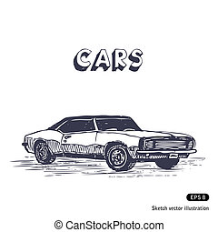 Old muscle car. Hand drawn vector isolated on white