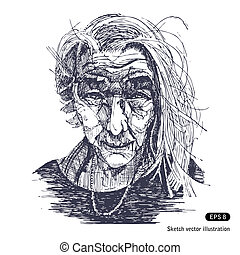 Portrait of a smiling old woman. Hand drawn vector isolated...