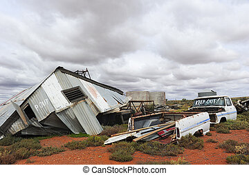 Ghost town outback Australia - Demolished house after storm...