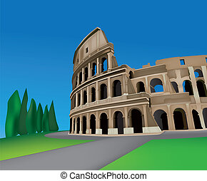 Colosseum - View of Colosseo in Rome, Italy