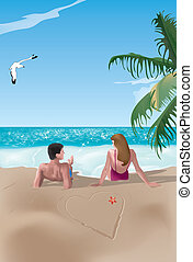 couple on beach - Couple on beach lying near a drawn heart