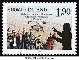 Postage stamp Finland 1990 Finnish Orchestras - FINLAND -...