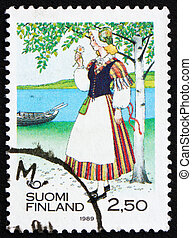Postage stamp Finland 1989 Woman from Veteli - FINLAND -...
