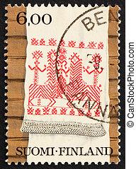 Postage stamp Finland 1980 Kaspaikka Towel Design, Ritual...