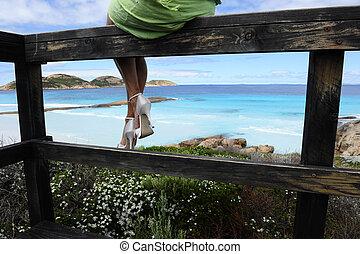 Sexy legs ocean view
