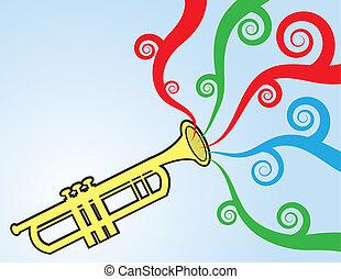 trompete, tocando, cores