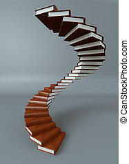 Books stair - Render of a stair made of books