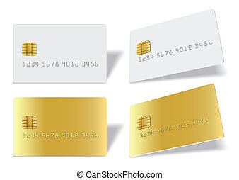 Separated blank chip cards - Clean blak bank-card sample on...