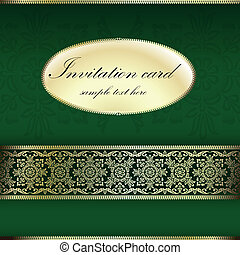 Green invitation card - Gold floral greeting illustration in...