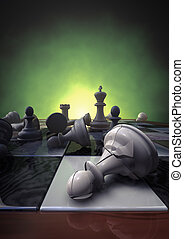 chess - 3d rendering of a closeup of a chessboard with a...