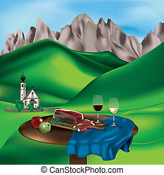 Dolomite landscape with typical products: speck, apples and...