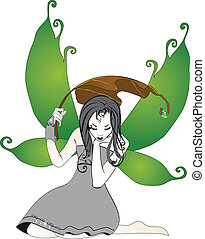 Fairy in the rain isolated