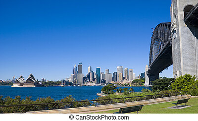Sydney City Opera Bridge - City of Sydney with Opera House...