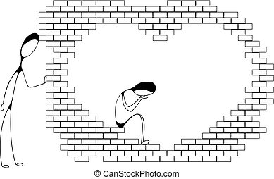Thinpeople Wall - One man is crying inside heart-shaped...