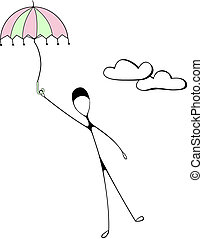 Thinpeople (Umbrella) - Man is flying high in sky with...