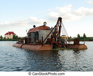 Dredge on river - Dredge on small river neak Kiev, Ukraine