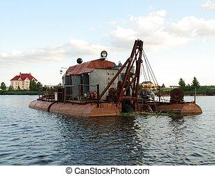 Dredge on river - Dredge on small river neak Kiev, Ukraine