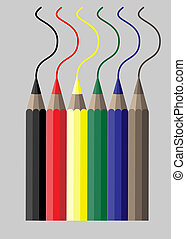 Colorful crayons - Simple vector illustration of six...