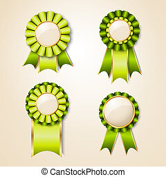 Geen prize trophy ribbon. Eco and natural