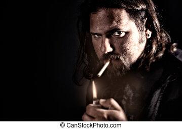 Man Smoking - Grungy look of a man smoking