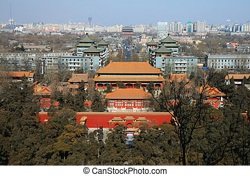 The aerial view of Beijing City from top of the Jing-Shan...
