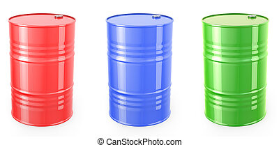 Three single red barrels, red, green and blue