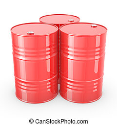 Three red barrels