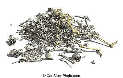 Pile of Bones with Skeleton 2 - A pile of human bones with...