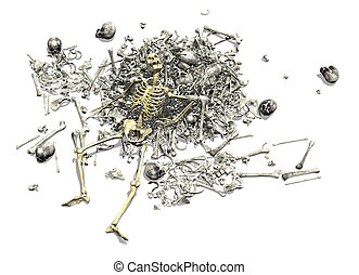 Pile of Bones with Skeleton - A pile of human bones with an...