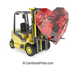 Fork lift truck lifts heart cut ruby, isolated on white...