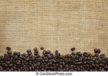 Coffee Beans Border over Burlap - Border of coffee beans...