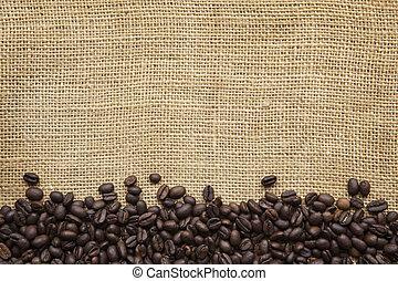 咖啡, 豆, 邊框, 在上方, 麤帆布
