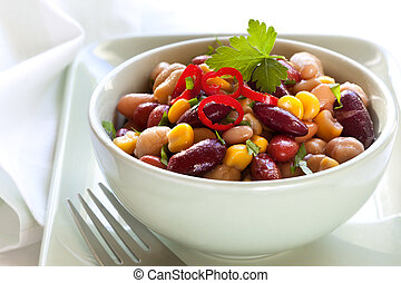 Bean and Corn Salad with Chili - Three bean and corn salad...