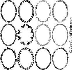 frame oval - set of vector illustration