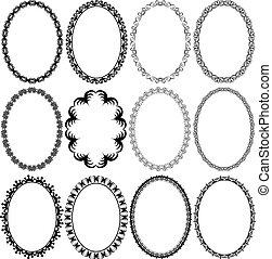 frame oval - set of vector illustration