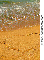 Heart on the sand beach