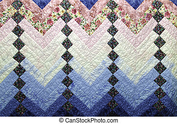 Home Made Country Quilt in Blue and Pink Patchwork - Strips...