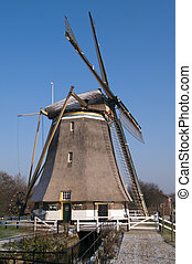 Dutch windmill in the winter