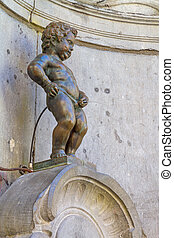 Manneken Pis, closeup view of statue in Brussels - closeup...