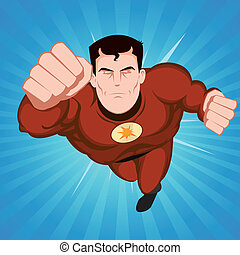Red Superhero - Illustration of a flying comic superhero...