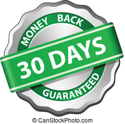 Money back guarantee label - 30 days money back guarantee...