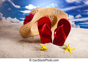 Flip flops and sand - Flip flops on the beach, suntan