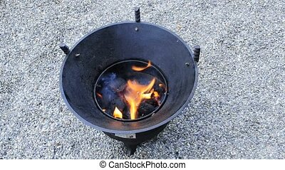 barbecue with burning charcoal